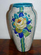 Superbe VASE ÉMAUX DE BOCH FRÈRES KERAMIS D2366 motif floral Charles CATTEAU