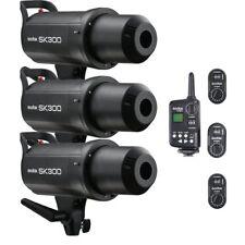 3X Godox SK300 Studio Flash Strobe Light + FT-16 Wireless Trigger & Receiver Kit