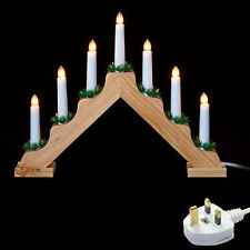 Christmas Candlebridge Decoration 'V' Shaped Wooden Mains LED 7 Light