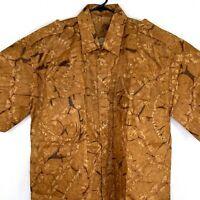 Vintage Mens Barkcloth Hawaiian Camp Shirt Size 2XL Floral Short Sleeve Brown