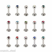 1 MONROE TRAGUS BAR 8mm bar 1.2mm gem set balls lip ear helix medusa 12 Colours
