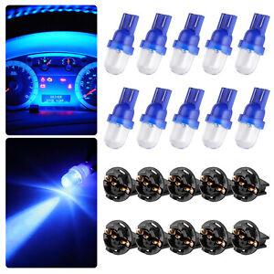 10x Blue T10 194 W5W LED Bulbs for Instrument Gauge Cluster Dash Light W/ Socket