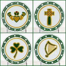 "MWW Market IRISH 4.5"" Mini Plate Set 4Pc Celtic Cross Claddagh Shamrock Harp"