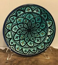 """Moroccan Hand Painted Teal Blue Plate 10"""" Artist Signed"""