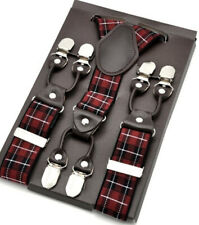 TARTAN MENS BRACES FOR MEN SCOTTISH LUXURY HEAVY DUTY SUSPENDERS 6 CLIPS LEATHER