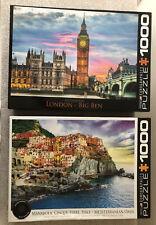 Lot of 2 Jigsaw Puzzles: Eurographics London Big Ben & Mediterran. Oasis, 1,000