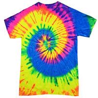 Multi-color Neon Rainbow TIE DYE T-SHIRT mens womens SIZE S  M   L