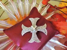"VINTAGE signed ""PELL"" GORGEOUS RHINESTONE MALTESE CROSS BROOCH*BAGUETTE CENTER!"