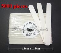 5000pcs Mini Manicure Nail File White 100/100 Grit Plastic Center 13cm Wholesale