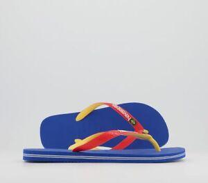 Mens Havaianas Brasil Mix Flip Flops Blue Star White Sandals