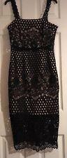 BNWT New Look Premium Black Circle Lace Midi pencil Bodycon wiggle Dress Size 10