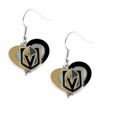 Las Vegas Golden Knights Team Color Logo Women's Swirl Heart Charm Earrings Set