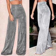 Mujeres Plata Brillo Brillante Pantalones De Pierna Ancha Señoras Pantalones Sueltos ropa de calle