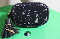 ORYANY Black Sequined 'Wendy' Tassel Cosmetic Pouch (p6oo