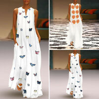 VONDA Women Oversized Loose Maxi Dress Evening Party Floral Print Long Sundress