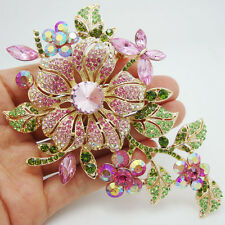 High quality Fashion Pretty Orchid  Pink Rhinestone Crystal Flower Brooch Pin