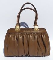 MIU MIU Walnut Brown Ruched Leather Gold HW Framed Top Pleated Satchel Tote Bag