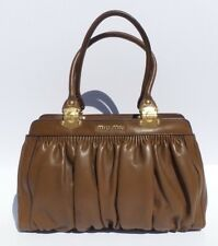 MIU MIU Walnut Brown Ruched Leather Gold HW Framed Top Pleated Satchel Tote  Bag bbcef7586e7aa