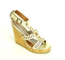 "Zodiac Womens Size 10 Gold Shoes Platform Wedge Chunk 5"" Heel Sandals"