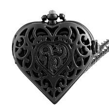 Retro Heart Hollow Pocket Watch Quartz Necklace Steampunk Pendant Chain Black