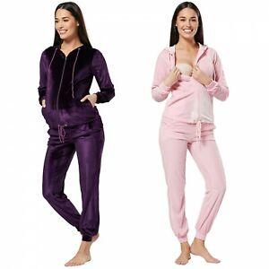 Zeta Ville Women's Maternity Nursing Hooded Velvet Tracksuit & Jogger Set 1150