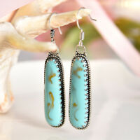 Women Boho Turquoise Gemstone Wedding Engagement Silver Drop Dangle Earrings