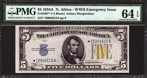 $5  1934a  North African Emergency Note  FR 2307*  PMG 64 EPQ - STAR NOTE