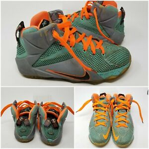 Nike Lebron 12 GS Teal Athletic Running Tennis Shoes Sneaker Boy's Size 6.5