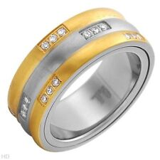 Gentlemens Spinner Band Ring W/1.10ctw CZ Made in 14K/Ti Gold plated Titanium
