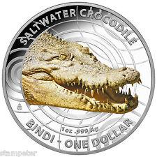 2013 Australian Saltwater Crocodile 'Bindi'- $1 Coloured Silver Proof Coin - RAM