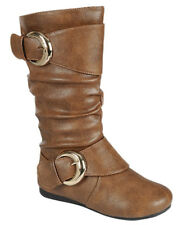 New Tan White Girls Boots Faux Leather Toddler Youth Kids Buckles Zipper 9-4