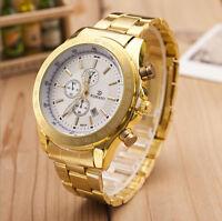 Luxus Herren Edelstahl Business Armbanduhr Golden Datum Analog Quarz Uhr Gift