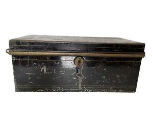 Antique METAL DOCUMENT LOCK BOX with 2 KEYS