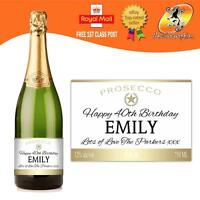 PERSONALISED PROSECCO WHITE ICE BOTTLE LABEL BIRTHDAY ANY OCCASION GIFT
