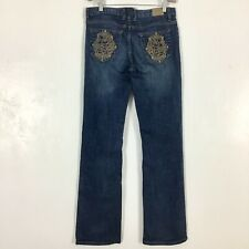 Disney Parks Womens Mickey Mouse Jeans Size 6 Embroidered Dark Wash Blue Denim