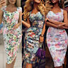Women Summer Sleeveless Bandage Bodycon Dress Floral Party Evening Gown Dress