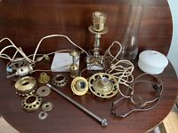 Lot vintage lamp parts Fitters Socket shade holders 2 marble base17 pc mixed lot