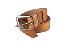 "NEW Vintage All Leather Belt Tan 2.5cms 1"" Wide 120cms Long Metal Closer Unworn"
