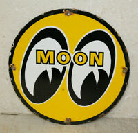 Moon Eyes Oil Vintage Style Porcelain Sign Gas Pump Plate Man Cave Station