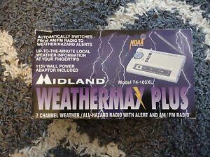 Vintage Midland 74-105XL FM/AM Radio/ Weather Alert Radio W/Manual & AC Adaptor