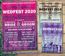 10 Personalised Wedding Invites WEDFEST Day Evening Invitations Party Poster Fun