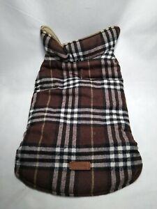 Dog Lemi Waterproof Reversible British Plaid Dog Vest Coat Jacket Brown