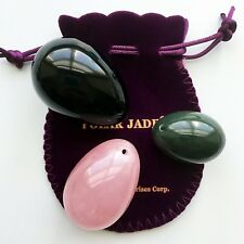 Certified Kegel Yoni Eggs 3-pcs Set,Made of 3 Gemstones,Drilled with Instruction