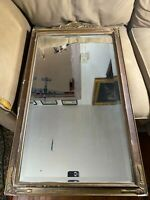 "Antique Rectangular Mirror With Floral Crest - 18.5"" Tall x 32.5"" Wide x 1.0"""