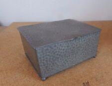 Art deco Civic pewter cigarette / trinket box hammered finish 11cm x10cm x6cm