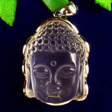 Buddha Head Pendant Bead 38x26x11mm Q25940 Wrapped Carved White Crystal