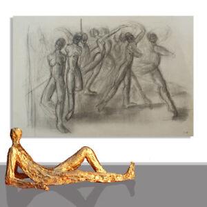 PAINTING ABSTRACT LARGE # ORIGINAL ART  HUMAN DANCE WALL DECOR DRAWING * 78 x 55