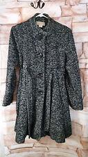 Michael Kors Size 12 Wool Blend Black White Tweed Belted Swing Coat Jacket