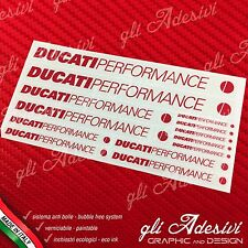 Set 13 Adesivi DUCATI Performance OLD moto Rosso su trasparente
