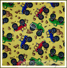 BonEful Fabric Cotton Quilt Yellow Blue Boy Baby Monster Truck Jeep Small SCRAP